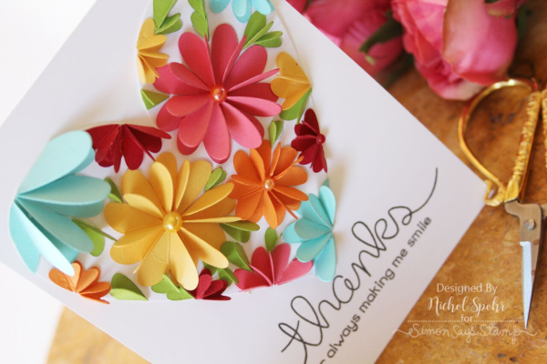 """heart flowers """"thanks"""" and """"love ya"""" cards with lawn fawn"""